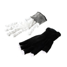 1 pair Hot washable white 7 Mode LED Gloves Rave Light Finger Lighting Flashing Nylon Glow Mittens