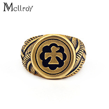 Mcllroy Stainless Steel Eagle ring Band Biker Men's ring a coat of arms of the Russian Signet Takahashi Sun Eagle Totem Rings(China)