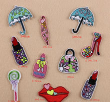 MIX10pcs lipstick handbag Iron-on sewing on patches for clothing Embroidered psg jersey patch Applique Fabric Badges Accessories