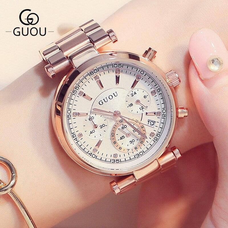 Fashion 3 Eyes GUOU Rose Gold Steel Quartz Women Ladies Wristwatches Wrist Watch Bracelet /w Calendar Japan Movt<br>