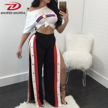 DutteDutta  2017 Elastic Waist Cropped Trousers for women Loose Side Slit Wide Leg Pants Contrast Snap Button Side Culotte Pants