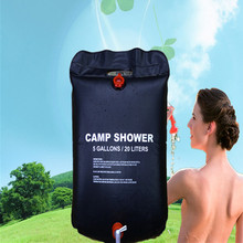 20L / 5 Gallons Water Bag Solar Energy Heated Camp Shower Bag Outdoor Camping Hiking Utility Water Storage For Traveling