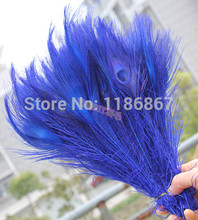 Free shipping royal blue dyed peacock feather 100pcs/lot length 25- 30 cm 10-12 inch peacock wedding decorations for sale