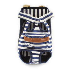 Armi store High-end Stripe Blue Dog Bag Carry Dogs Cat Chest Front Bags 6111018 Pet Five Holes Backpack