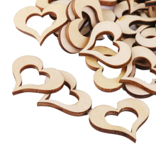 Nice 50pcs Hollow Wooden Heart Table Confetti Rustic Wedding Photo Props Wood Crafts Confetti Wedding Decoration(China)