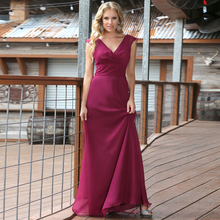 2016 Simple Designed Bridesmaid Dress V-Neck Chiffon Aline Party Gown Pleated