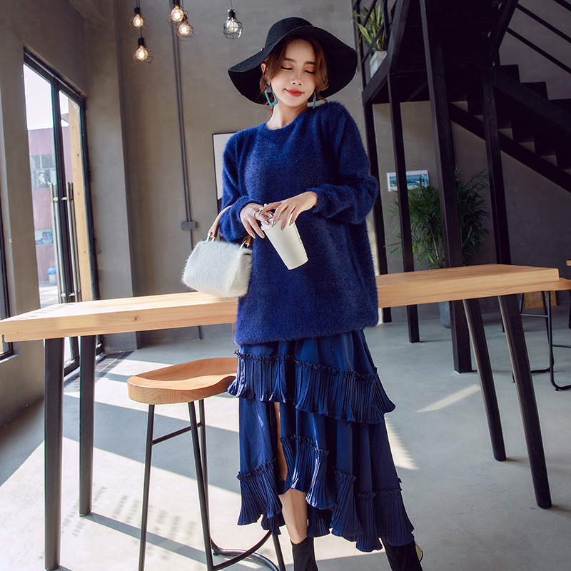 2 piece set women new style spring and autumn fashion pullover suit hippocampus female loose chic sweater + sling long skirt