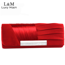 Ladies Silk Evening Bag Fashion Bridal Wedding Satin Hand Bags White Party Purse Pink Red Black Day Clutch Chain 2017 XA303H