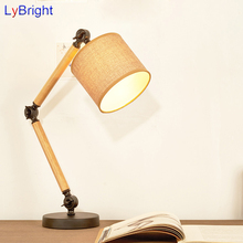 Vintage Adjustable Wood Table Light AC 90-260V Table Lamp For Living Room Dining Room Bedroom Bedside Study Room Coffee Shop