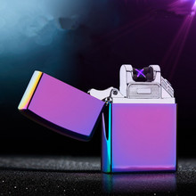 2016 Twin arc pulse Electronic Cigarette lighter novelty double fire cross electric arc charge usb lighters smoker sexy ice man(China)