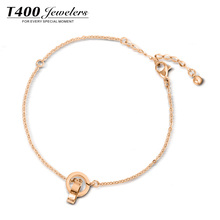 New Arrival! T400 Jewelers Sexy Summer Ankle Rose Gold Double Circle Alloy Anklet,Simple Style Foot Chain Jewelry For Women#3841