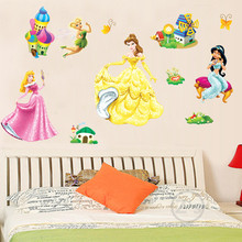 princess wall sticker cartoon home decor fairy decal children's furniture adhesive mural poster removable vinyl wallpaper ABC602