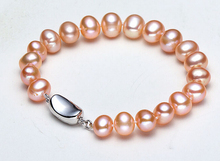 DYY+++430  Counter genuine freshwater pearl bracelet genuine 11-12mm round very bright light