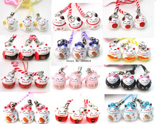 Hot 500 pcs lovely girl favourite Various Color Cute Maneki Neko Lucky Cat Bell Mobile Cell Phone Charm Popular Gift