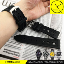 22MM 24MM Black Sports Silicone Strap for Breitling Watchband for Avenger Rubber Stainless Pin Clasp Waterproof Watch Wrist Man(China)