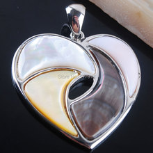 Free shipping New Zelanian Abalone Shell Pearl Gem Stones Heart Bead Pendant Jewelry TN2152