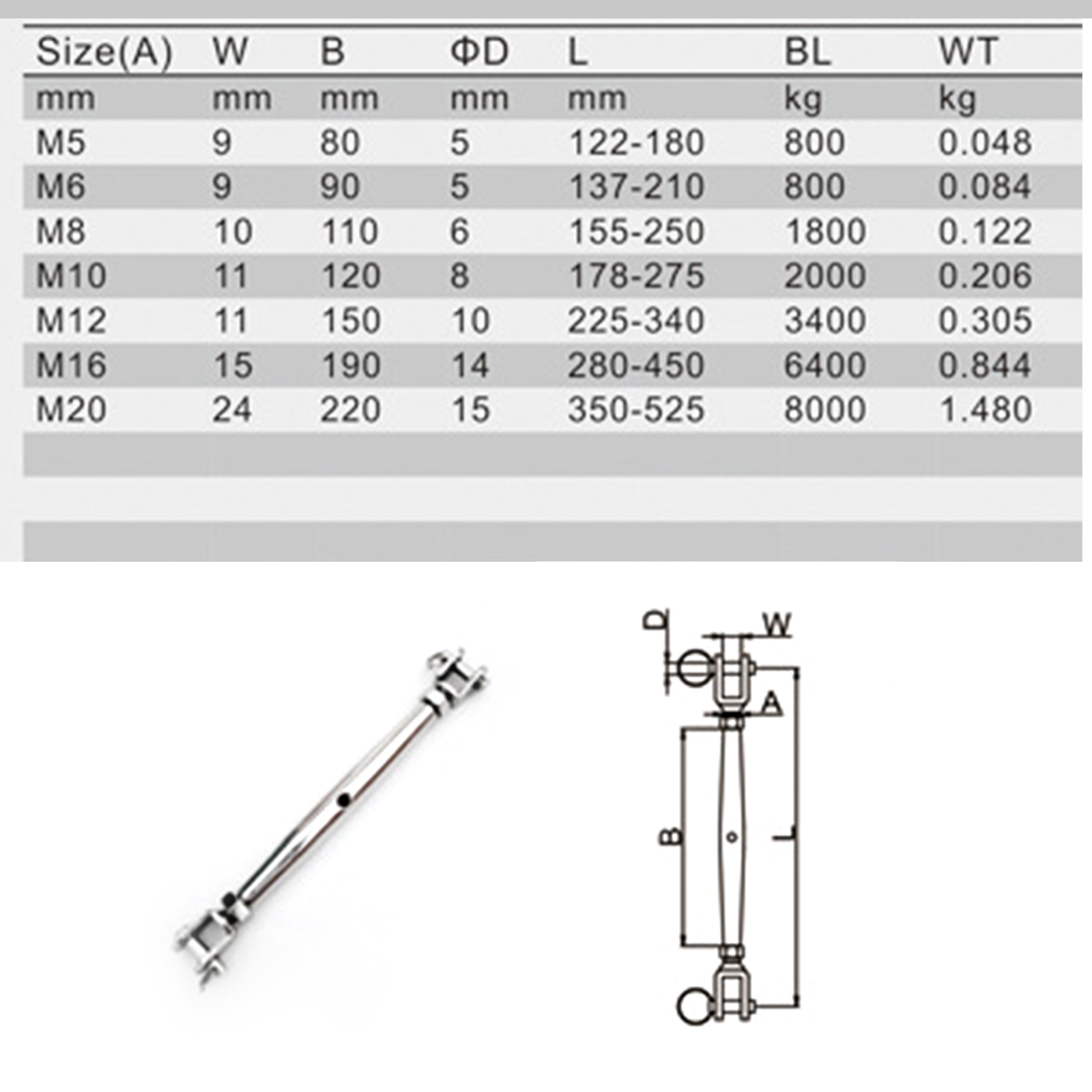 """5//16"""" Jaw Jaw Closed Body Turnbuckle 8mm 316 STAINLESS STEEL Rigging Screw"""