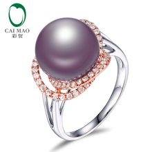 New collection 18k Gold precious 11-12mm Round Freshwater Pearl Ring 0.41ct Natural Diamond manufacturer(China)