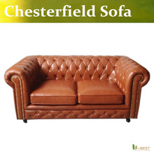 U-BEST high quality Classic Chesterfield 2 seater Sofa,Designer furniture chesterfield sofa, brown  leather loveseat sofa