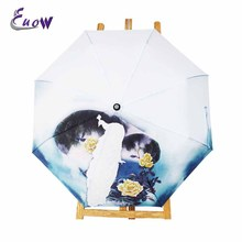 Creative Peacock And Flowers Umbrella Anti-UV Sun Protection Umbrella 3 Folding Gift Sunny Rainy Umbrellas For Women(China)