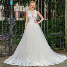Dressv Scoop Neck A-line Long Wedding Dress Sleeveless Appliques Court Train Tulle Button Dream Church Princess Wedding Dresses(China)