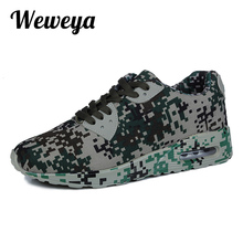 Weweya Camouflage Unisex Shoes Slipony Men Casual Shoes Height Increase Male Comfort Footwear Mens Trainers Big Size Men Shoes(China)