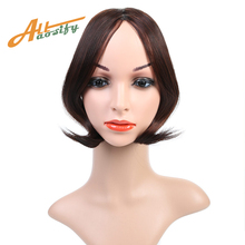 Buy Allaosify Women Middle Part Bangs Short Front Neat Clip Bang Fringe Hair Extensions Synthetic Hairpiece for $2.73 in AliExpress store