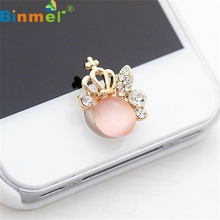 Factory Price Binmer Hot Selling 3D Crystal Bling Diamond Home Button Sticker For iPhone   Drop Shipping Wholesale