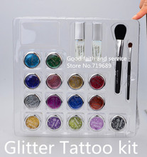 Free shipping 15 colors Glitter Tattoo kit with brushes/glue/stencil for body painting Glitter Temporary Tattoo stencils Kits