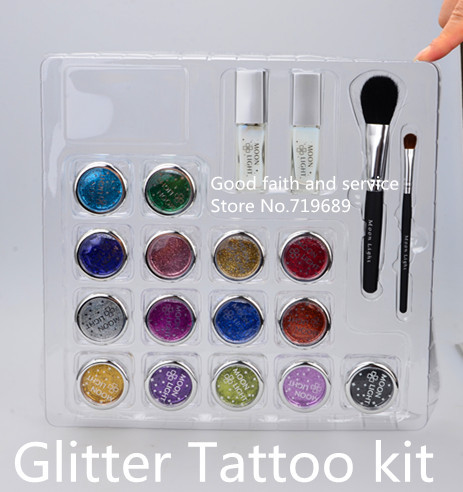 Free shipping 15 colors Glitter Tattoo kit with brushes/glue/stencil for body painting Glitter Temporary Tattoo stencils Kits<br>