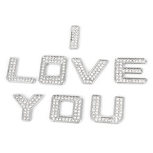 X Autohaux 8 Pcs Car Silver Tone Plastic Metal Self Adhesive Rhinestone Letter Shaped Stickers