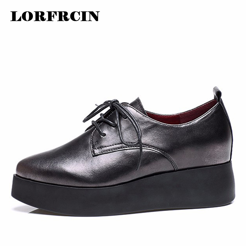 2017 Women Casual Shoe Genuine leather Flat Platform Shoes Woman Flats Lace-up Loafers Black Hidden Increasing Shoes<br>