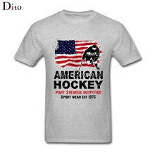 USA American Ice Hockey Flag T-shirt Men Man's Brand Clothing White Short Sleeve Custom Plus Size Family Tshirt(China)