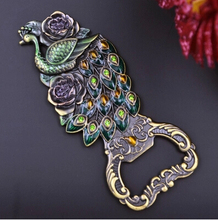 Vintage Russia import tin alloy Creative peacock multi-function bottle opener fridge magnet openers(China)