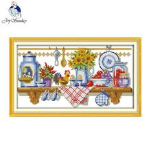 Радость Воскресенье Кухонный Уголок Печатных Рассчитывал Шить 14CT 11CT DIY Вышивки Крестом Комплект Для Вышивания Главная Wal Декор Рукоделие(China)