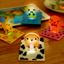 Mini Wallet Pocket Credit Card Size Portable LED Night Light Lamp Bulbs Cute paper card flashlight(China)