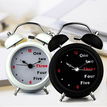 New Classic Number/English Retro Double Bell Desk Table Alarm Clock Light Function Loud Hammer Two Bell Alarm carrying outdoor(China)