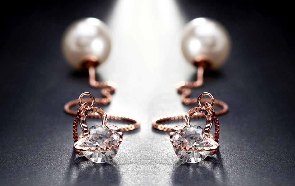 Effie Queen Fashion Cute Ear Wire Earrings Female Models Long Drop Crystal Imitation Pearl Jewelry Dangle Earrings Brincos DDE26 15