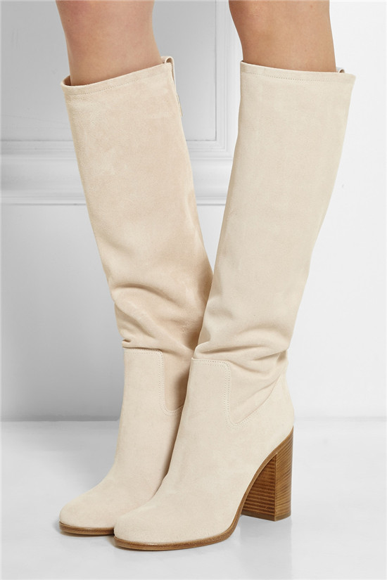 New Style Thick High Heels Autumn Winter Boots Beige Suede Women Boots Slip On Mid Knee High Boots Shoes Woman Botas Mujer (1)