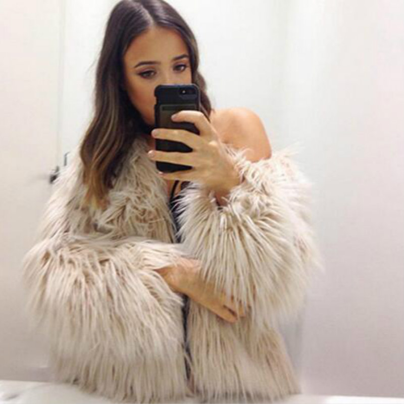 Elegant Women Warm Wnter Environmentally Faux Fox fur Long Hair coat imitation fur coat Fluffy Jacket Faux fur Spliced Cardigan(China (Mainland))