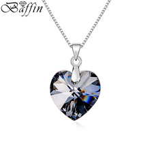 2PCS/Lot BAFFIN Romantic Heart Necklaces&Pendants Crystal From SWAROVSKI Elements For Women Jewelry Valentine's Day Gift