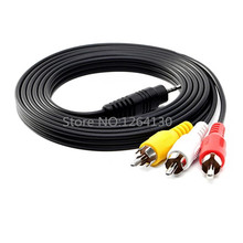 1.5M 5FT Adapter Cable Audio Video AV 3.5mm Jack to 3 RCA for TV/SONY/Canon/JVC Camcorder free shipping(China)
