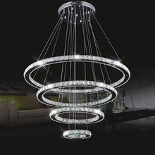 Large Modern LED Chandeliers K9 Crystal suspension Fixtures For living dinning room 4 Diamond Ring lustre Lighting Circle Lamp