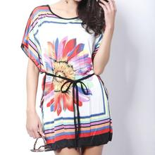 NEWEST 2014 New Summer Women's dress High quality Fashion ladies novelty dresses female sunflower Printed milk silk one-piece