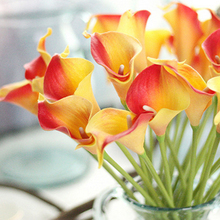 30pcs/lot Artificial Calla lily Real Touch bride Bouquet flower Home Wedding Decor Flowers &Wreaths 10 colors mix color(China)