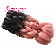 Ombre Braiding Hair  Synthetic Two Tone Color Black Pale Pink Hair Extention Jumbo Braids Bulk Hair For Braiding