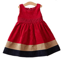 FORIDA KIDS 2017 Fashion European Style  High Quality Girl Dress Corduroy Dress Patchwork Color Design Girls Dresses 3-10T