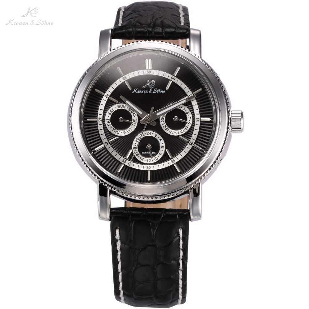 KS Luxury Brand  Automatic 6 Hands Date 24 Hour Display Leather Male Clock Self Wind Mechanical Men Fashion Casual Watch /KS247<br><br>Aliexpress
