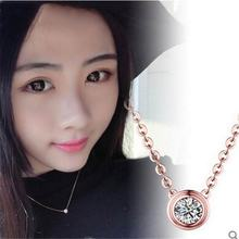 Simply Small Round 1 carat Cubic Zirconia Solitaire Pendant Necklace Hot Selling Jewellery for Women and Girls(China)