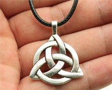 WYSIWYG Fashion 2 Colors Antique Bronze, Antique Silver Color Triquetra Symbol Pendant Leather Chain Necklace(China)